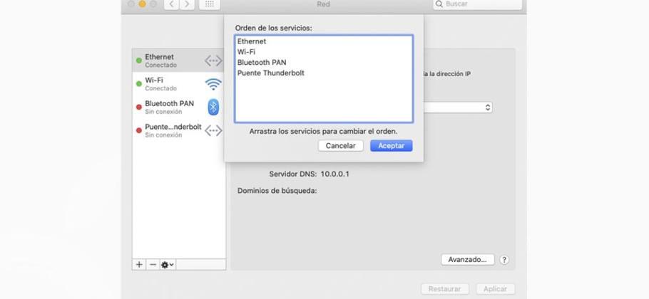 Cambiar el orden de los puertos de red que utiliza el Mac