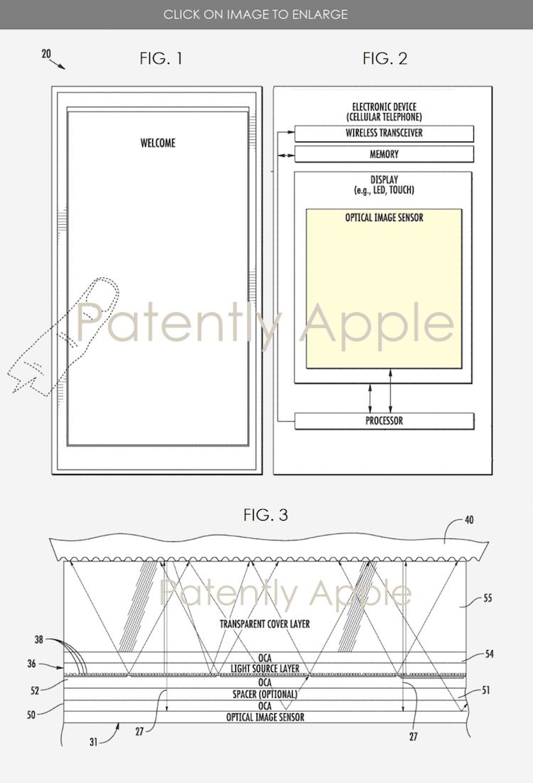 Patente Touch ID debajo de la pantalla Apple 2020