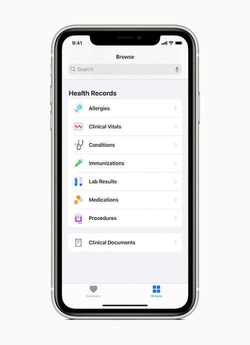 Función Health Records en Salud de Apple