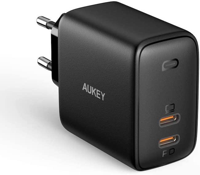 USB C Cargador AUKEY Omnia 65W de 2-Puerto PD