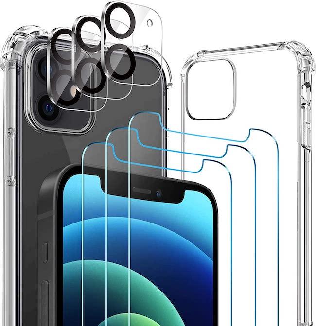 AloMit Protector Pantalla para iphone 12 [3*Protector de Pantalla + 3*Película de Lente +1*Funda] [6.1'] Cristal Templado para iphone 12
