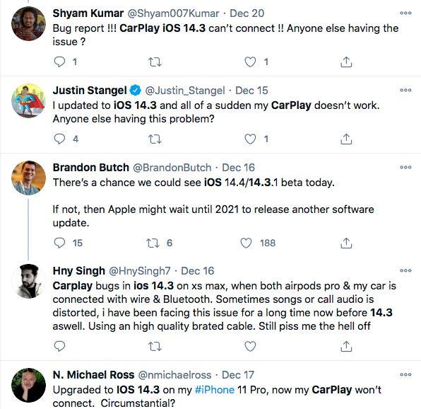 error CarPlay iOS 14.3